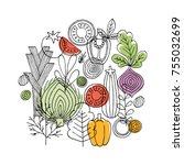Vegetables round composition. Linear graphic. Vegetables background. Scandinavian style. Healthy food. Vector illustration | Shutterstock vector #755032699