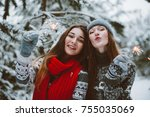 two young teenage hipster girl... | Shutterstock . vector #755035069