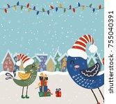 cartoon christmas illustration... | Shutterstock .eps vector #755040391