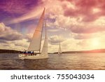 sailing boat on the background... | Shutterstock . vector #755043034