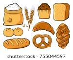 colored bakery set  vector... | Shutterstock .eps vector #755044597