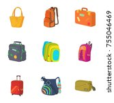 baggage icons set. cartoon set... | Shutterstock . vector #755046469