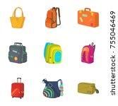 baggage icons set. cartoon set...   Shutterstock . vector #755046469