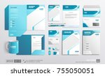 mockup set of stationery... | Shutterstock .eps vector #755050051