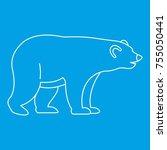 bear icon blue outline style... | Shutterstock . vector #755050441