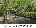 happy kids playing a...   Shutterstock . vector #755051161