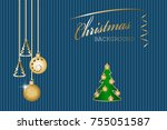 christmas background. golden... | Shutterstock .eps vector #755051587