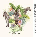 tropical summer arrangement...   Shutterstock .eps vector #755052787