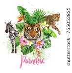 tropical summer arrangement... | Shutterstock .eps vector #755052835