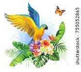 tropical summer arrangement...   Shutterstock .eps vector #755052865