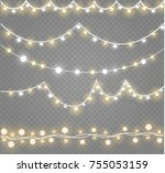 christmas lights isolated on... | Shutterstock .eps vector #755053159
