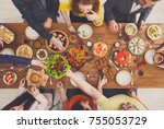 people eat healthy meals at... | Shutterstock . vector #755053729
