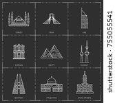 middle east landmarks. the... | Shutterstock . vector #755055541