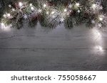 christmas wooden background... | Shutterstock . vector #755058667