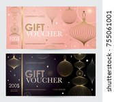 gift voucher with geometric... | Shutterstock .eps vector #755061001