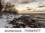 winter sunset in finland   Shutterstock . vector #755069377