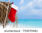 christmas greeting card with... | Shutterstock . vector #755070481