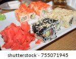 rolls  japanese food | Shutterstock . vector #755071945