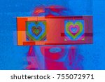 head of a woman with 2 video... | Shutterstock . vector #755072971