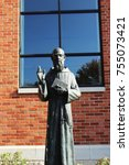 Small photo of Detroit, MI/USA: Nov 14, 2017: Statue of Blessed Solanus Casey at St Bonaventure Monastery. The Capuchin monk is only the third American to be beatified. One confirmed miracle. Next step is sainthood.