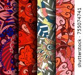 set of tracery colorful... | Shutterstock .eps vector #755074741