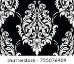 vector damask seamless pattern... | Shutterstock .eps vector #755076409