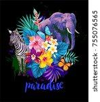tropical summer arrangement...   Shutterstock .eps vector #755076565