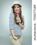 healthy life with juice detox... | Shutterstock . vector #755077189