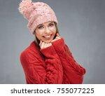 close up face portrait of... | Shutterstock . vector #755077225
