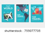 tour of the world vector... | Shutterstock .eps vector #755077735