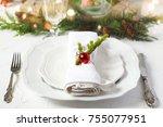 christmas table setting | Shutterstock . vector #755077951