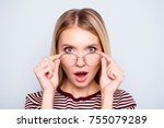 wow  i don't believe you  close ... | Shutterstock . vector #755079289