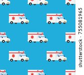 ambulance first aid car... | Shutterstock .eps vector #755081965