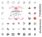 merry christmas and happy new... | Shutterstock .eps vector #755082001