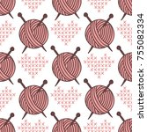 yarn clew ball seamless pattern ... | Shutterstock .eps vector #755082334