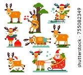christmas cute reindeer santa...   Shutterstock .eps vector #755082349