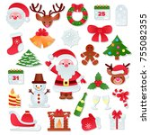 christmas vector icons new year ...