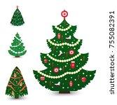 christmas tree vector ornament... | Shutterstock .eps vector #755082391