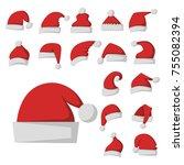 santa claus fashion red hat... | Shutterstock .eps vector #755082394