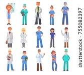 doctors vector people different ... | Shutterstock .eps vector #755082397
