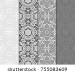 set of modern line art ornament ... | Shutterstock .eps vector #755083609