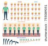 flat guy character set.... | Shutterstock .eps vector #755089051