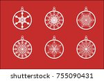vector christmas balls set with ... | Shutterstock .eps vector #755090431
