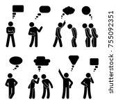 stick figure dialog speech... | Shutterstock . vector #755092351