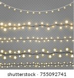 christmas lights isolated on... | Shutterstock .eps vector #755092741