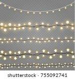 christmas lights isolated on... | Shutterstock .eps vector #755092741