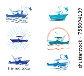 fishing logo collection with... | Shutterstock .eps vector #755094139