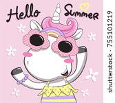 hello summer with cute unicorn... | Shutterstock .eps vector #755101219