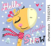 hello snow with cute cartoon... | Shutterstock .eps vector #755102191