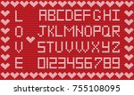 love knitted alphabet with...   Shutterstock .eps vector #755108095